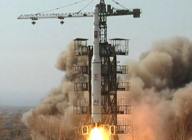 In this April 5, 2009 image made from KRT video, a rocket is lifted off from its launch pad in Musudan-ri, North Korea