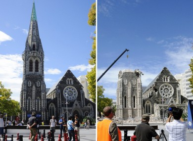 Before and after photos of the cathedral in Christchurch
