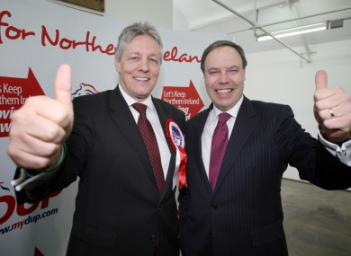 Nigel Dodds MP (right) with DUP leader and first minister Peter Robinson. Dodds has called for March 17 to be considered a public holiday in the United Kingdom.