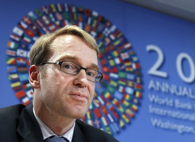 Bundesbank president Jens Weidmann: Germany's central bank won't accept Irish government bonds as collateral from May 1.