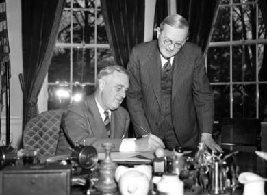 President Franklin D Roosevelt pictured filling in his census form in April 1940.
