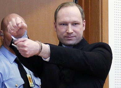 Anders Behring Breivik in court last month.