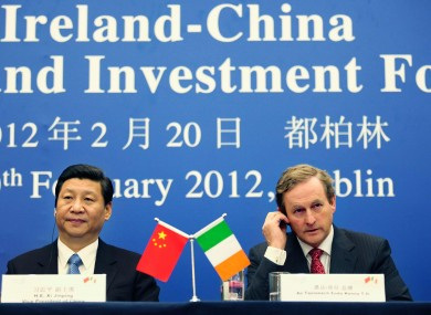 Enda Kenny with Xi Jinping in Dublin last month
