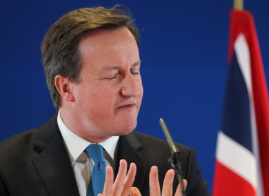 Cameron at a press conference in Brussels today.
