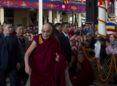 The Dalai Lama leading a special prayer in India yesterday