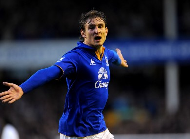 Nikica Jelavic celebrates his first Everton goal