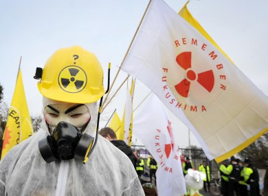 A protest takes place outside Hinkley Point nuclear power station in Somerset on the eve of the first anniversary of the Fukushima disaster in Japan.