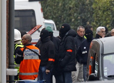 Police at the scene of the stand-off in Toulouse