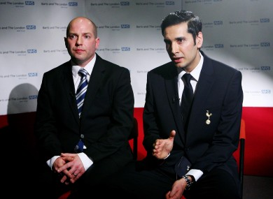 Bolton Wanderers team doctor Dr Jonathan Tobin (left) and Tottenham Hotspur team doctor Dr Shabaaz Mughal talk to reporters at the London Chest Hospital.