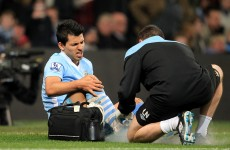Eh? Sergio Aguero has picked up a 'stupid' injury, according to Roberto Mancini