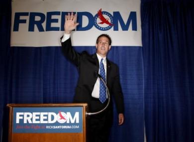 Santorum at the Racine, Wisconsin rally yesterday.