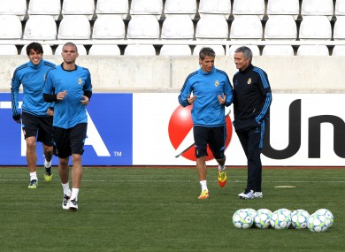 Real Madrid train ahead of their game tonight