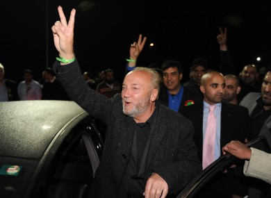Galloway celebrates with supporters at the Richard Dunn Sports Centre in Bradford last night.