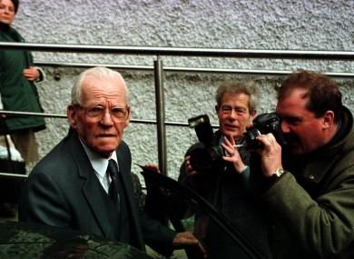 The late James Gogarty pictured after a day giving evidence to the Planning and Payments Tribunal in 1999 - a former construction company worker, he blew the whistle on alleged deals between Ray Burke and builders.
