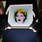 Banksy's work entitled 'Kate Moss'. The Andy Warhol inspired 'Kate Moss' is expected to sell for between £30,000 to £50,000  (AP Photo/Alastair Grant)