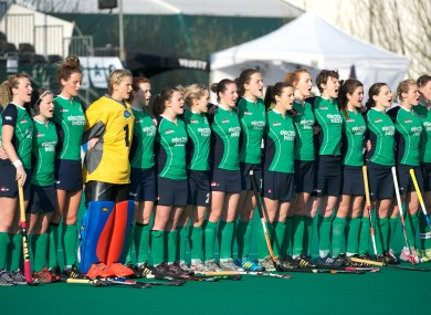 The Ireland team stand for the national anthem yesterday.