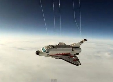 A screenshot of the Lego shuttle which was sent into space by an 18-year-old earlier this week