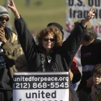 Actress Susan Sarandon gives the peace sign during a rally opposing the war in Iraq on the National Mall in 2007. (Kevin Wolf/AP Photo)<span class=