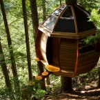 View of treehouse somewhere in Canadian woods. (Image via Joel Allen)