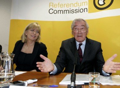 Ombudsman Emily O'Reilly and Referendum Commission chairman Justice Bryan MacMahon at a press conference last October.