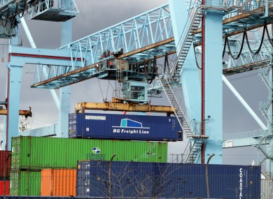 File photo of shipping containers at Dublin Port. Britain made the biggest dent in Ireland's trade surplus for 2011.