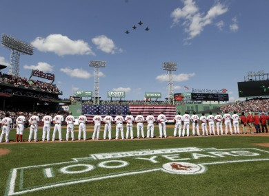 Red Sox players line up to welcome the Vermont National Guard