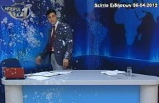 VIDEO: Greek news presenter gets pelted with eggs and yoghurt