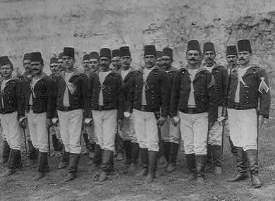 Ottoman imperial soldiers, photographed between 1880 and 1893 in Istanbul.