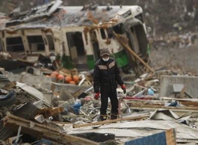 A tsunami-hit area of Miyagi Prefecture, Japan.