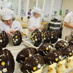Chocolatiers work on the hand-crafted chocolate Easter eggs and rabbits at Betty's in Harrogate. How did your eggs measure up these?