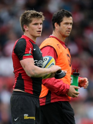 Andy Farrell (right) with his son Owen, at Saracens.