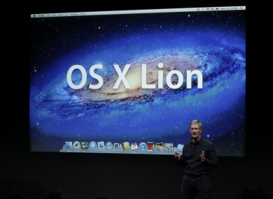Apple CEO Tim Cook unveils the latest version of Mac OS X, 'Lion', last October. The OS has been exploited by a little-known vulnerability.
