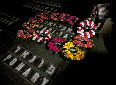Wreaths laid at the Yad Vashem Holocaust memorial in Jerusalem.