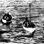 Titanic rescue and rescuers' lifeboats. The one in the foreground belongs to the RMS Carpathia - a rope attaches to the Titanic lifeboat behind. (Topham/Topham Picturepoint/PA Images)