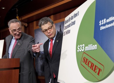 Democratic senators Charles Schumer and Al Franken criticise the secretive nature of donations to so-called 'Super PACs'.