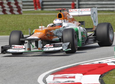 Force India Formula One driver Paul di Resta during practise for the Malaysian Grand Prix earlier this year.