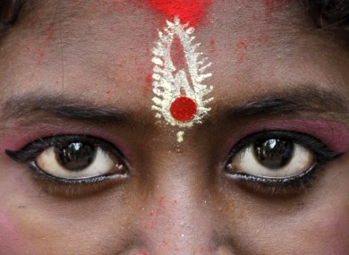 A young Hindu girl dressed as