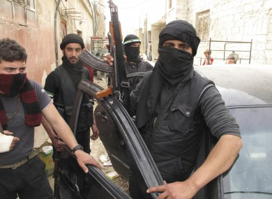 Free Syrian Army fighters in a neighborhood in Damascus, Syria.