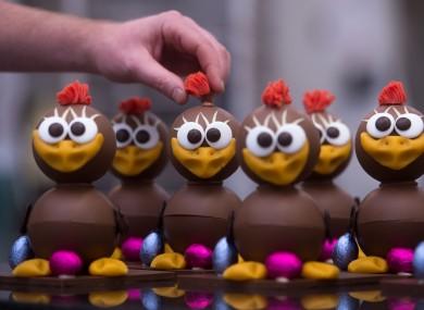 A Belgian chocolatier prepares chocolate Easter chicks at his workshop in Antwerp.
