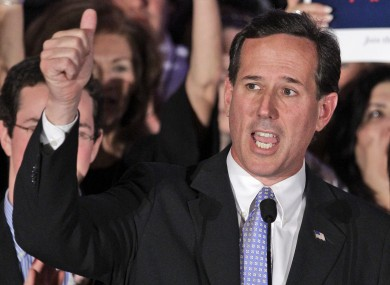 Rick Santorum addressing supporters at a campaign event last week. Santorum has today suspended his campaign, virtually assuring victory for Mitt Romney.