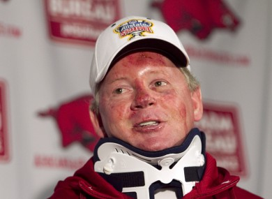 Bobby Petrino after his recent motorcycle accident.