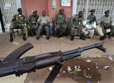 Guinea Bissau troops guarding ballot boxes in Bissau