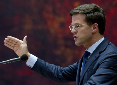 Caretaker Prime Minister Mark Rutte addresses parliament in The Hague, Netherlands