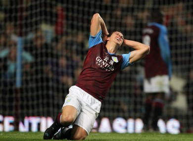 Stephen Warnock shows his frustration.