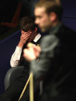 Judd Trump during the second round match during the Betfred.com World Snooker Championships at the Crucible.