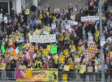 Demonstrators protest against the Household Charge at Fine Gael's Árd Fheis last month.