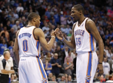 Russell Westbrook and Kevin Durant combined for a punishing alley-oop dunk