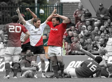 Ulster's Darren Cave celebrates at the final whistle on Sunday.