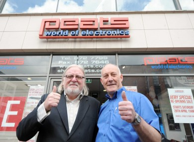Ben Peat and Ken Peat outside the Parnell Street branch as it re-opened today