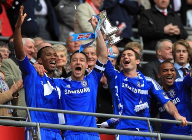 Didier Drogba, John Terry and Frank Lampard celebrate Chelsea's FA Cup win.